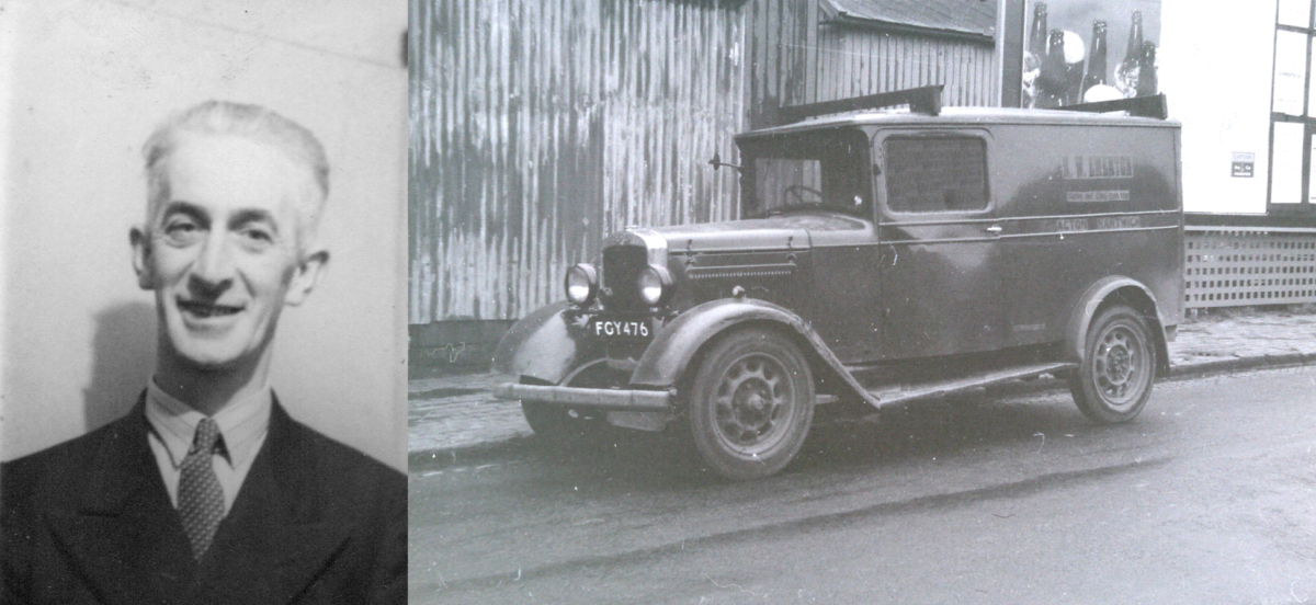 Founder Ralph William Emerton alongside Emerton Roofing's first van